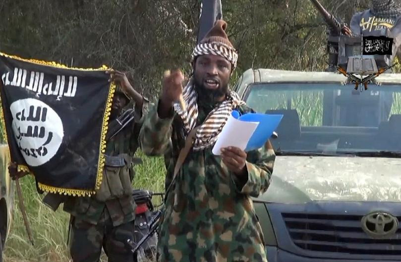 A screengrab taken on October 2, 2014 from a video released by the Nigerian Islamist extremist group Boko Haram shows the leader of the Nigerian Islamist extremist group Boko Haram, Abubakar Shekau delivering a speech (AFP Photo/)