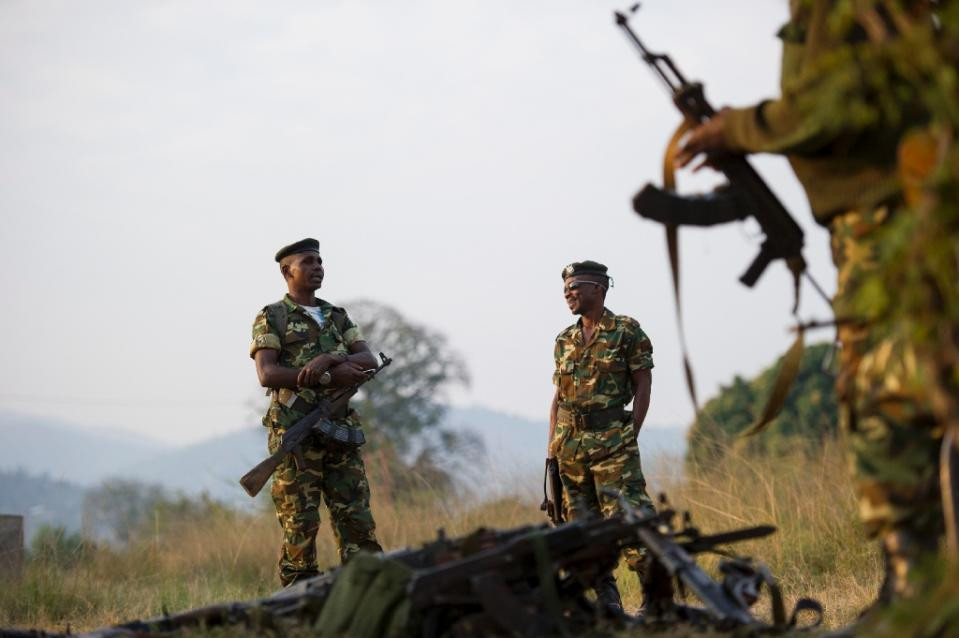 """""""Heavily armed men"""" attacked a base at Ngagara in the north of the Burundi capital Bujumbura and a military training college in the south, according to a senior military officer (AFP Photo/Phil Moore)"""