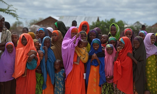 Half of the population of Dadaab refugee camp is under 18 … refugees at the camp, 8 May 2015. Photograph: Tony Karumba/AFP/Getty Images