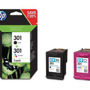HP 301 Black & Tri-colour Ink Cartridges - Twin Pack