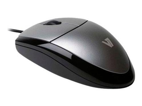 V7 MV3000 full sized Plug & Play USB optical LED mouse - mouse - USB - silver wi