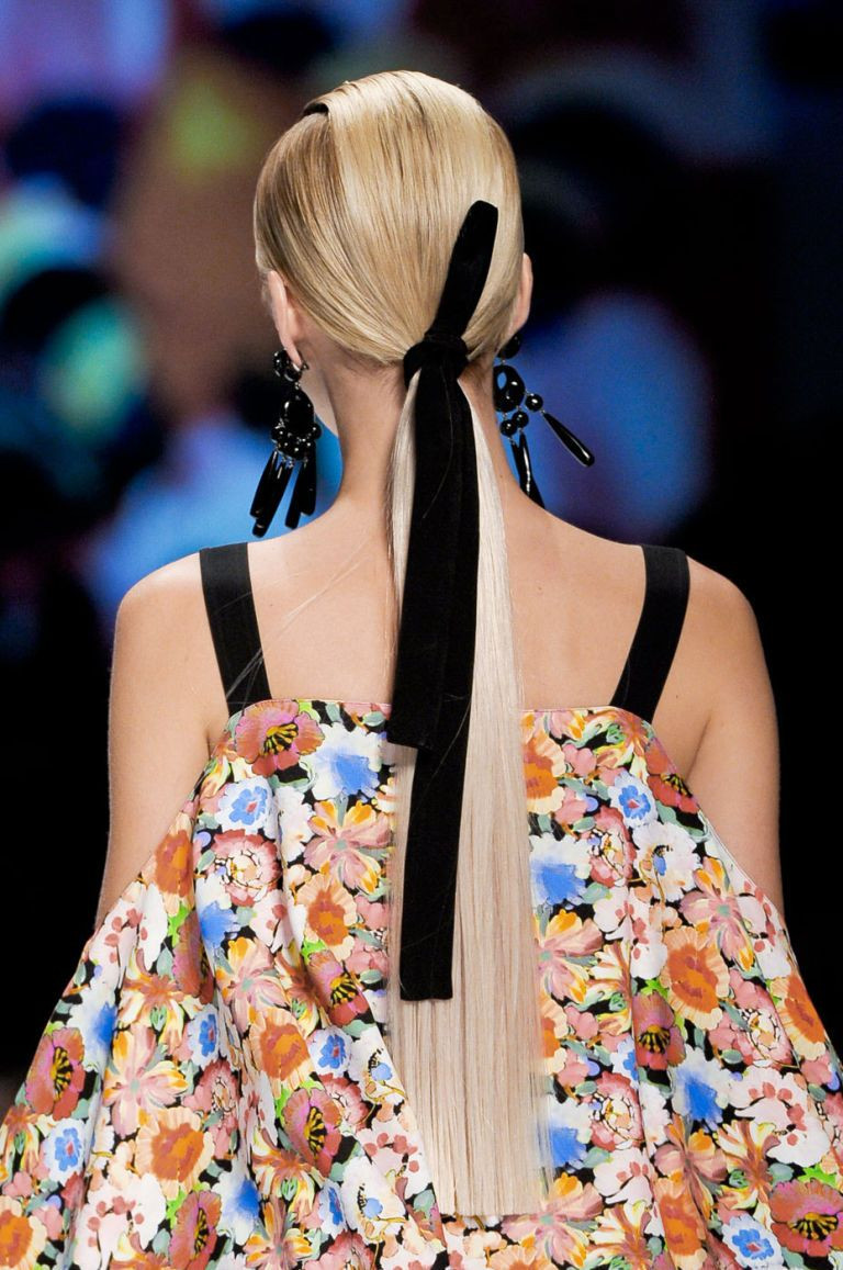 sleek and structured ponytail with velvet hair bow - Runway Hair Reviews Australia
