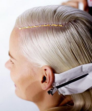 Fashion Hairstyle with Gold Glitter Part - Hair Blog