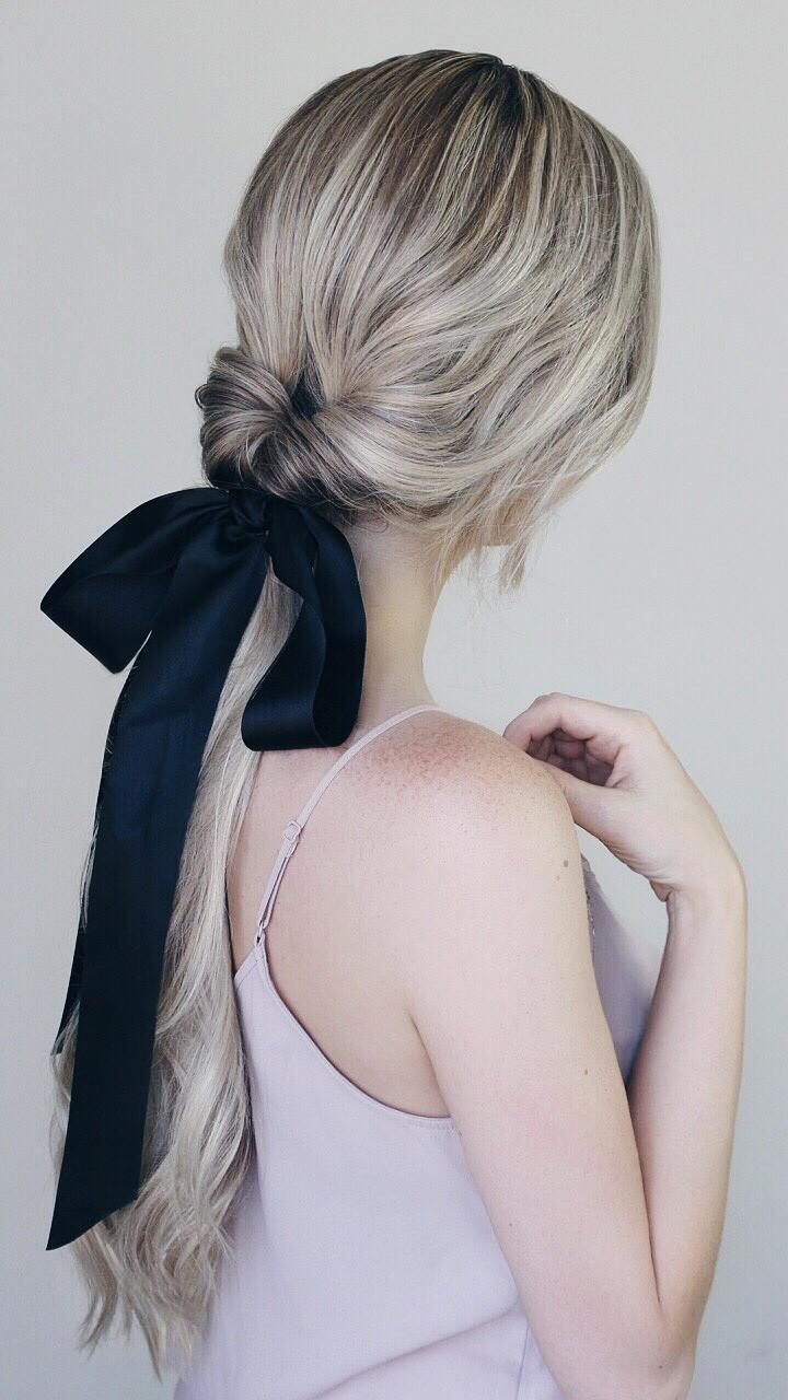 topsy tail hairstyle with black ribbon bow - Australian Hair Blog