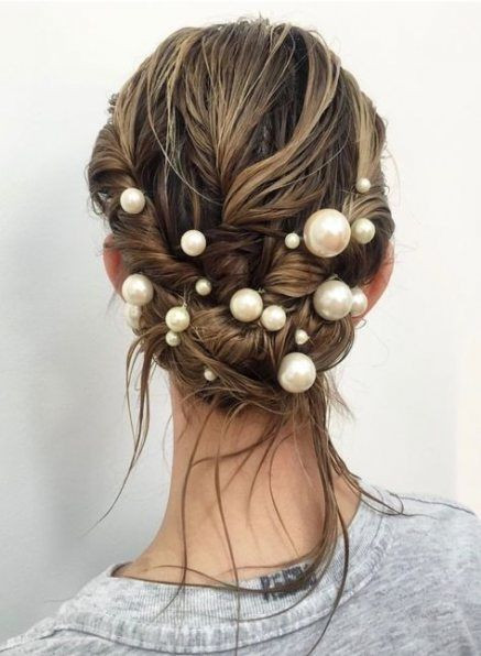 Wet Twisted Upstyle with Pearl Hair Pins - Hairstyle Inspiration Blog