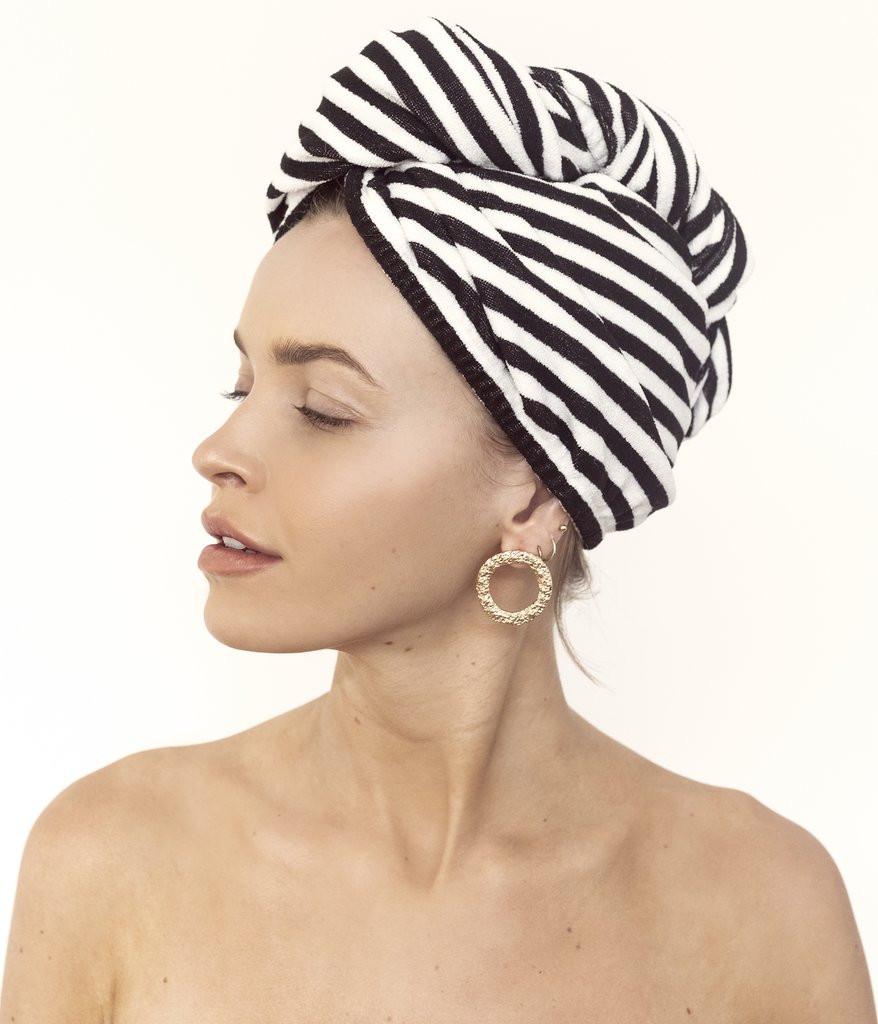 RIVA Hair Towel Wrap in Monochrome Stripe Louvelle - Hair Health Blog