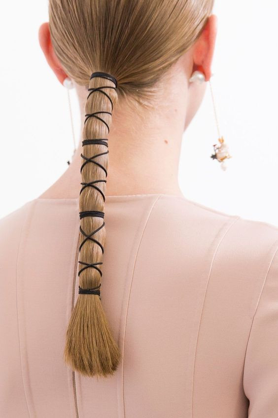 Ponytail wrapped with Hat Elastic for Criss-Cross Design - Hairstyle Inspiration Blog Australia