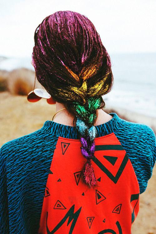 Rainbow Braid with Glitter - Hairstyles for Music Festivals  - Hair Blog Australia