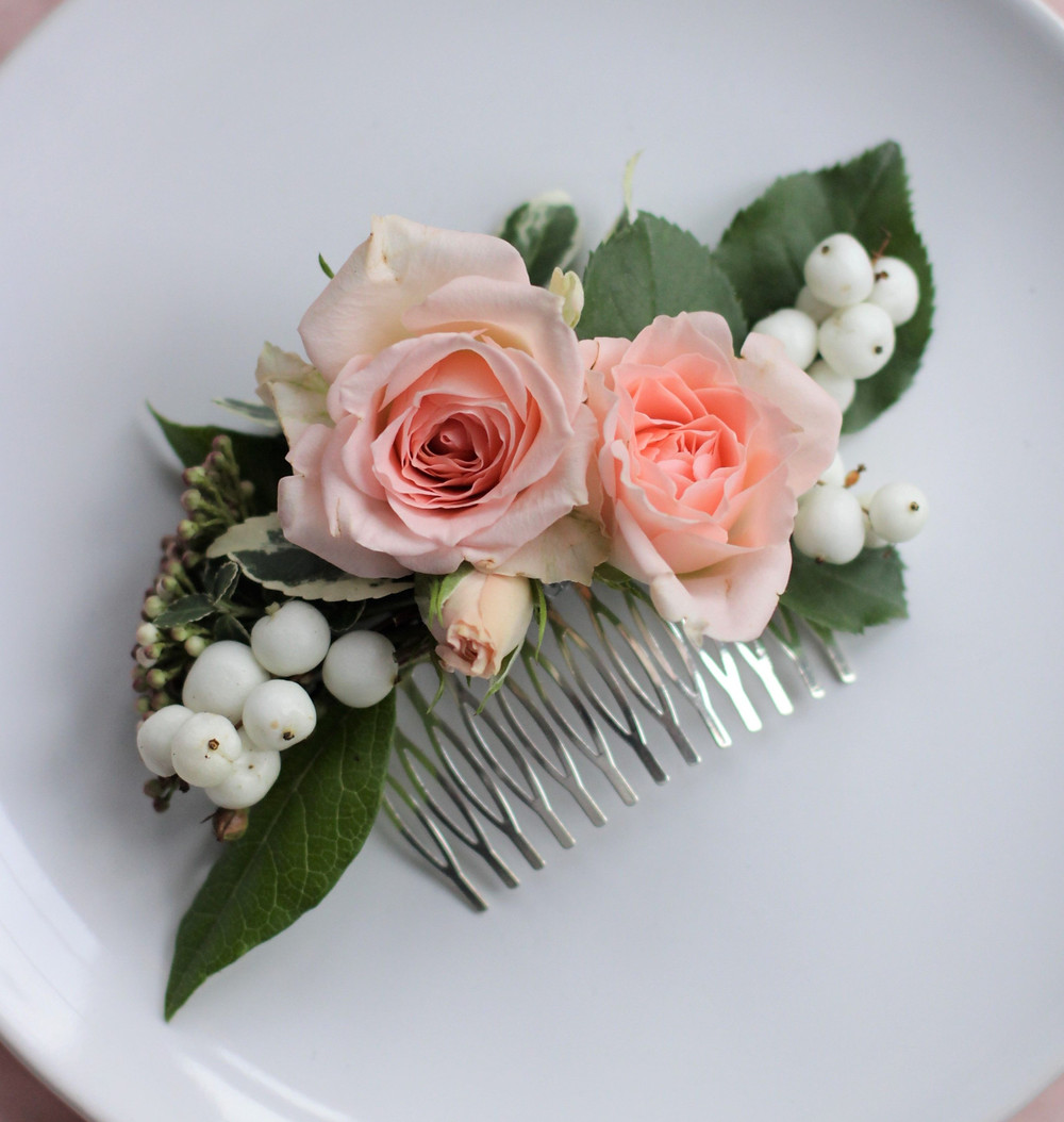 Wedding Hair Flowers - Bridal Hair Comb - Real Flowers Bridal Hair