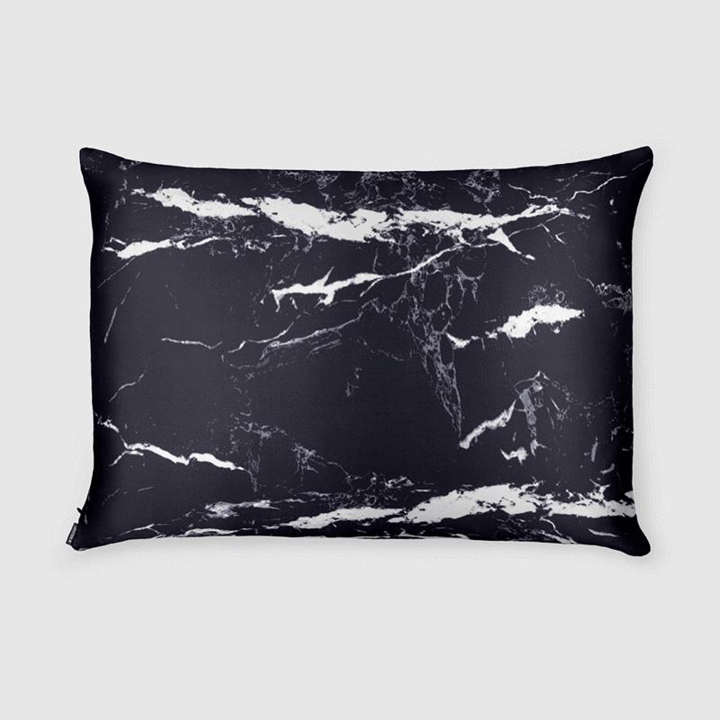 Black Marble Silk Pillowcase - Queen Size - Zippered - Hair Care Blog