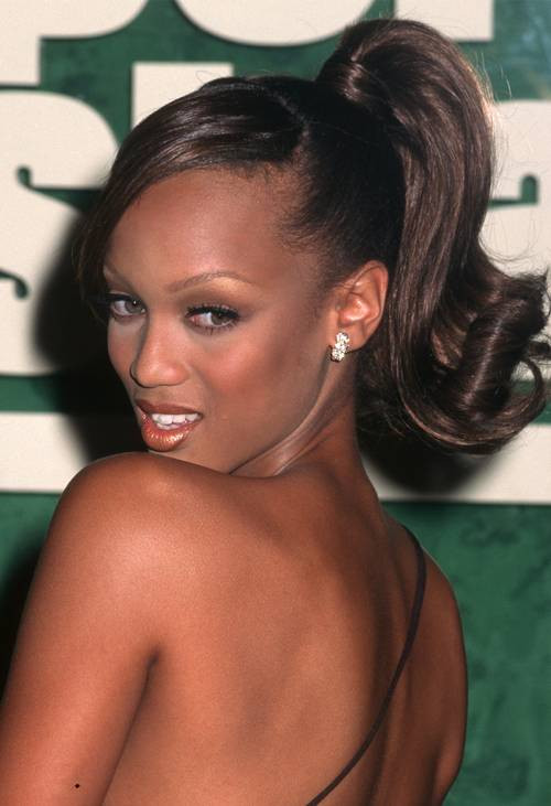 Tyra Banks 90s Sleek Ponytail with Flipped Ends - Hair Blog Australia