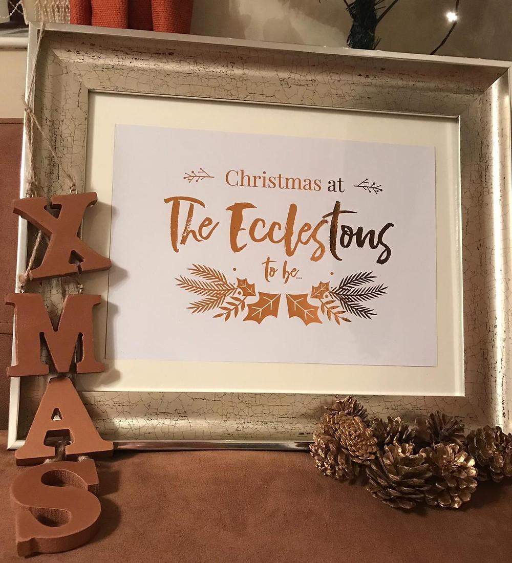 Christmas foil print family name