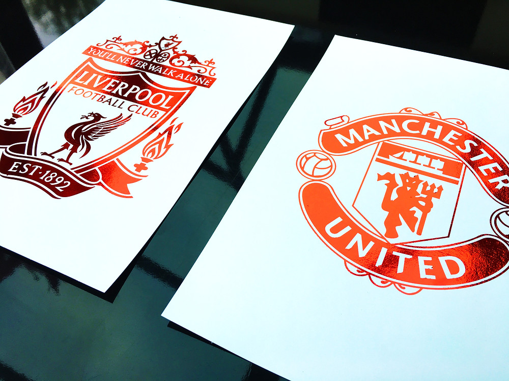 Manchester United and Liverpool FC Foil Print Crests