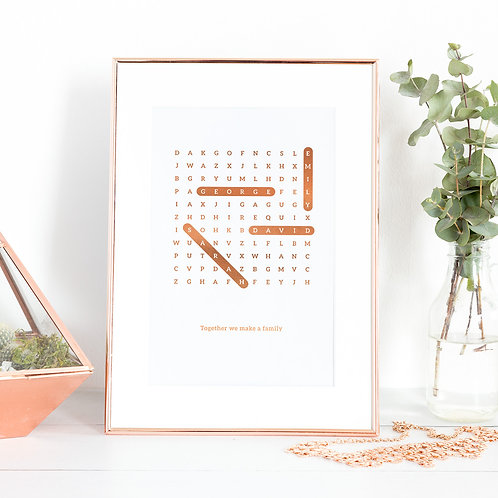Family Names Print Word Search