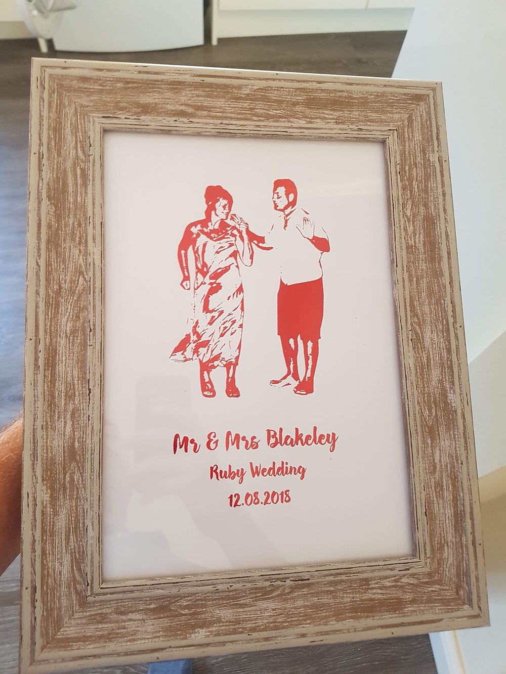 Bespoke Ruby Wedding Anniversary Foil Print