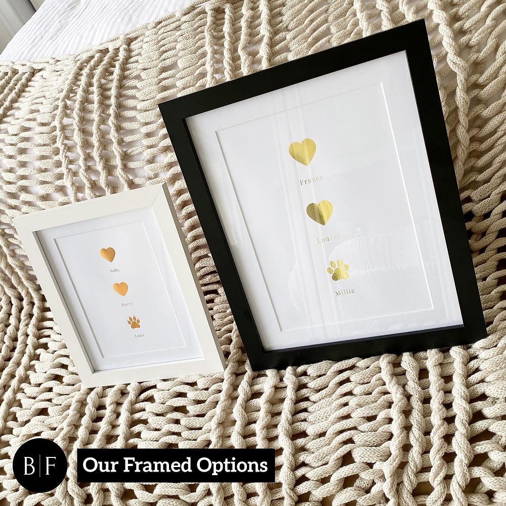 framed family pet foil print