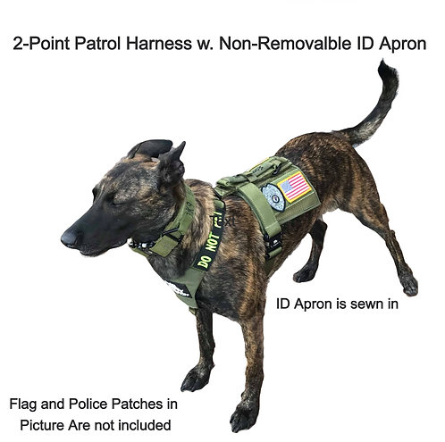 ISC 2-Point K9 Patrol/Training Harness w. Non-Removable ID Apron