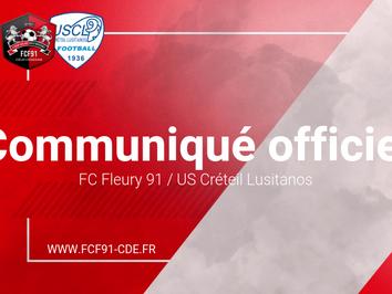 N2. Le derby Fleury / Créteil de nouveau reporté ! (Off.)