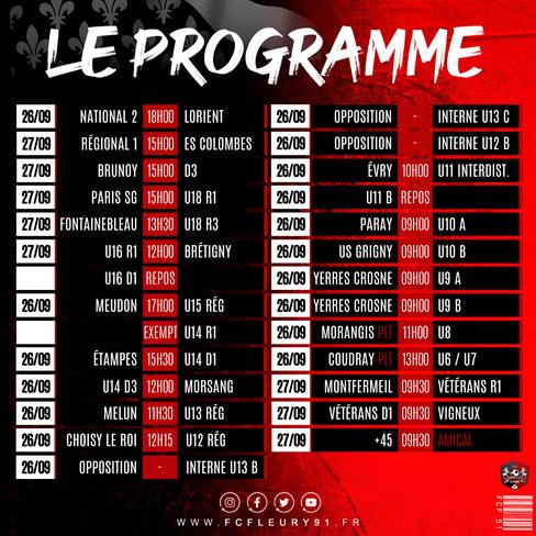 CLUB 🗓 Le programme (26-27/09)