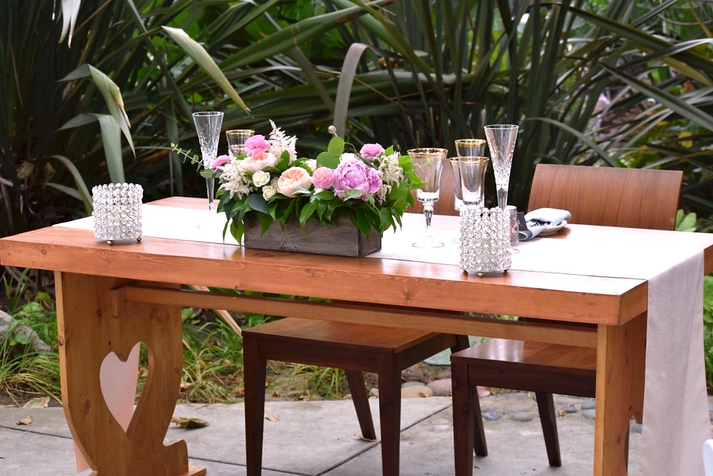 Peonies and Juliet Roses in a Rustic Wood Centerpiece