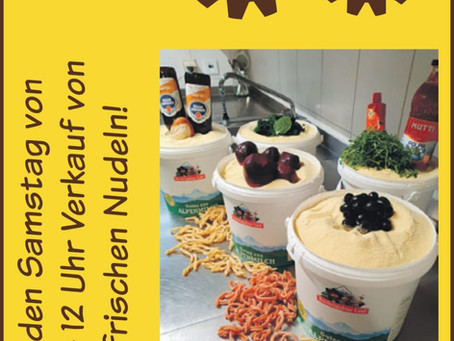 Jeden Samstag von 10-12 Uhr Verkauf von frischen Nudeln!
