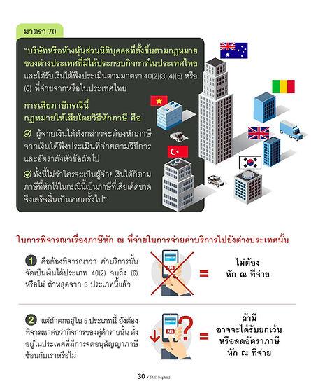 ในการพิจารณาเรื่องภาษีหัก ณ ที่จ่ายในการจ่ายค่าบริการไปยังต่างประเทศนั้น  1.คือต้องพิจารณาว่า ค่าบริการนั้น จัดเป็นเงินได้ประเภท 40(2) จนถึง (6) หรือไม่ ถ้าหลุดจาก 5 ประเภทนี้แล้ว = ไม่ต้อง หัก ณ ที่จ่าย   2.แต่ถ้าตกอยู่ใน 5 ประเภทนี้ ยังต้อง พิจารณาต่อว่ากิจการของคู่ค้ารายนั้น ตั้งอยู่ในประเทศที่มีการจดอนุสัญญาภาษีซ้อนกับเราหรือไม่ = ถ้ามี อาจจะได้รับยกเว้น หรือลดอัตราภาษี หัก ณ ที่จ่าย