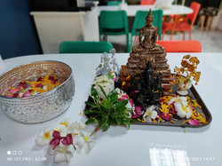 NAT team performing water pouring on Buddha statues on Songkran tradition 2021