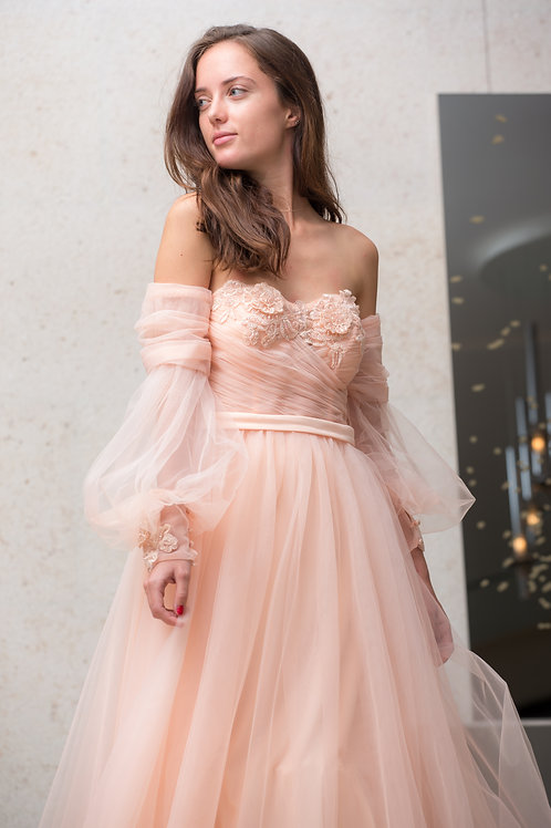 Light Rose Embroidered Gown
