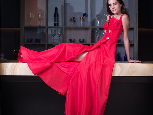 Red Buttoned Gown