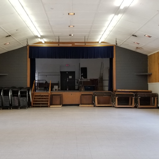 Interior of Parish Hall, looking from front entrance towards stage.