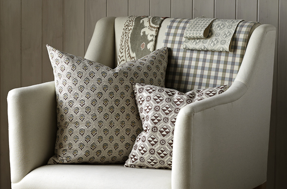 Speedwell and Monochrome on pillows
