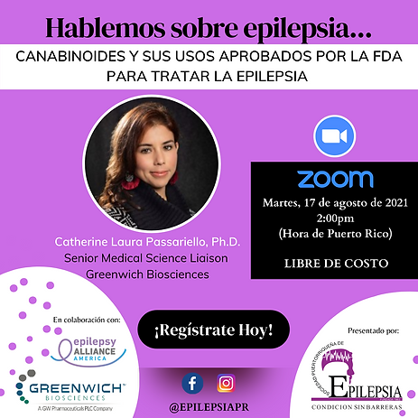Invitación Conferencia Canabinoides y sus usos aprobados por la FDA para tratar la epileps