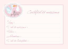 Certificat de naissance fille 2018 - Pri
