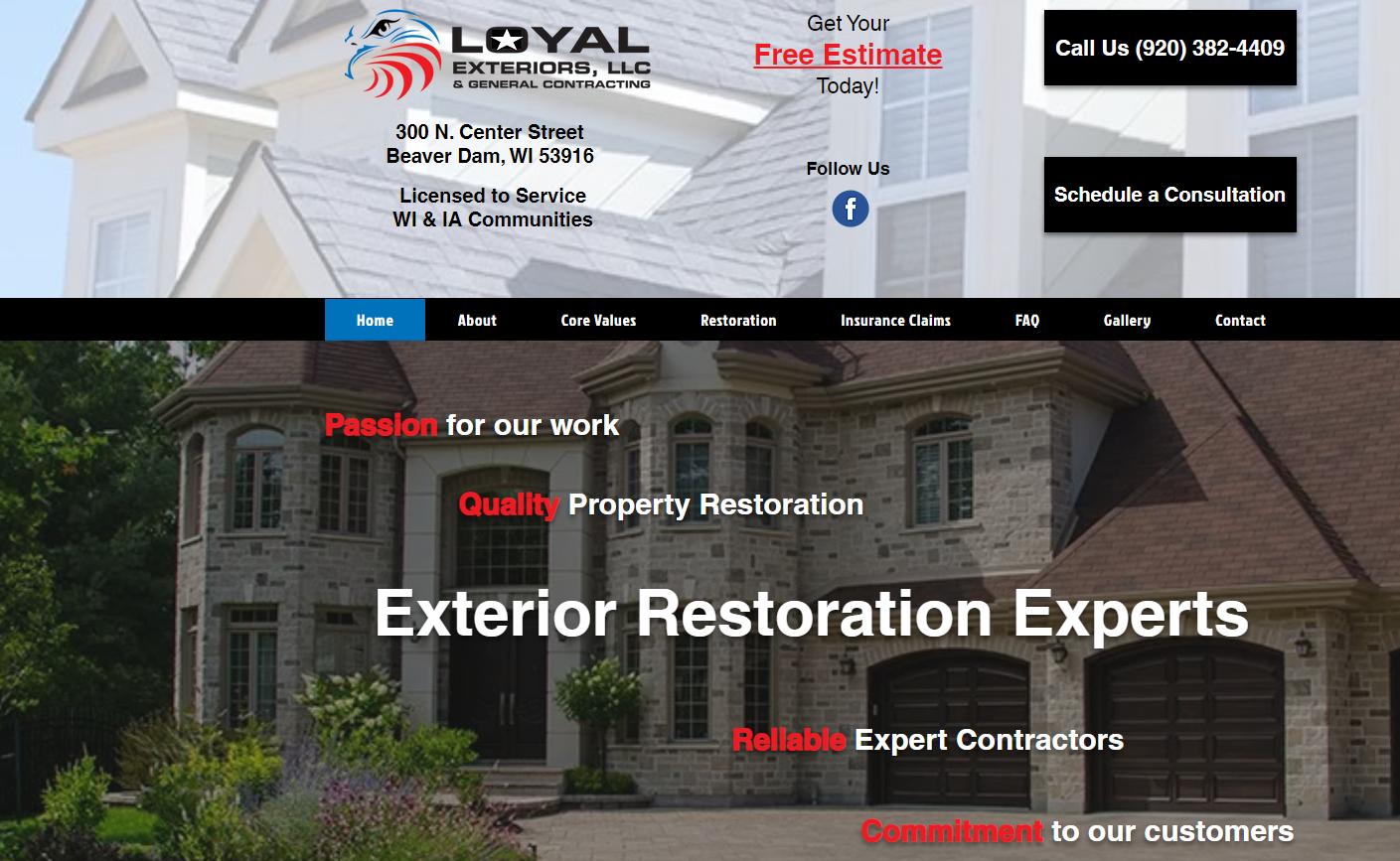 Loyal Exteriors snap shot of home page