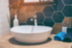 Interior of bathroom with sink basin fau
