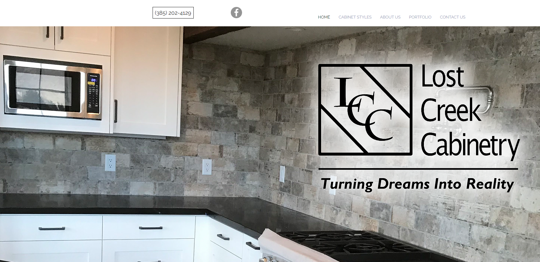 Lost Creek Cabinetry Home Page Snapshot