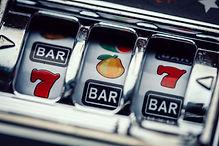 Gambling slot machine in close up view o
