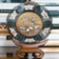 [AsianArt]BronzeDishHeronAdmidstFlower-0