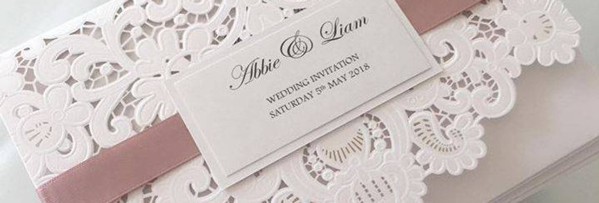 Lace laser cut wedding invitations