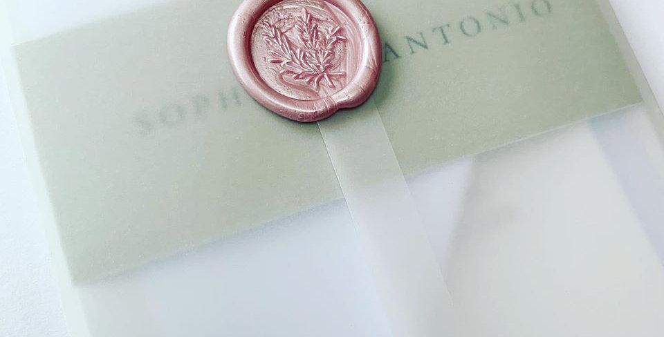 Vellum wax seal wedding invitations