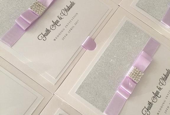 Glitter wallet wedding invitations