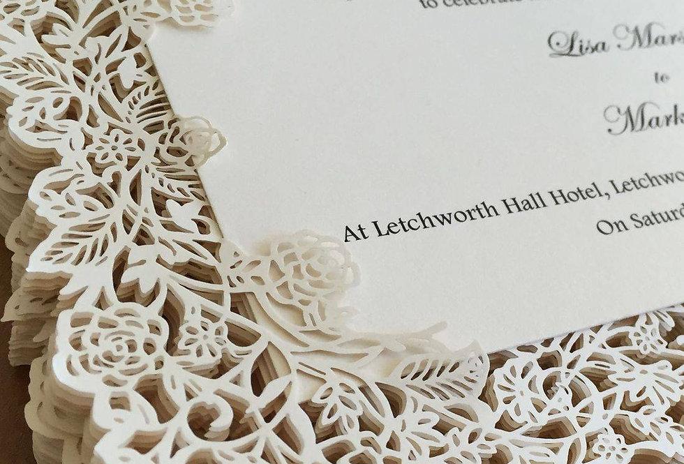 lasercut flat style wedding invitations