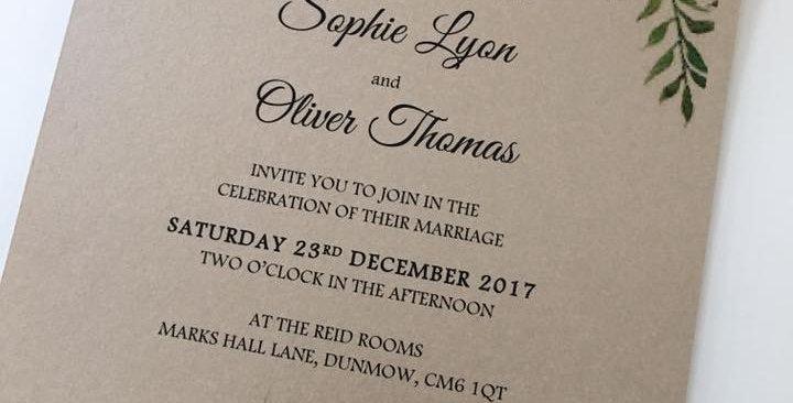 Vintage wedding invitation flat style