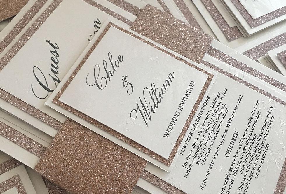 Glitter wrap wedding invitations