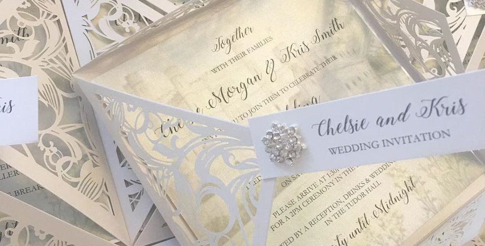 Luxury wedding invitation laser cut paris