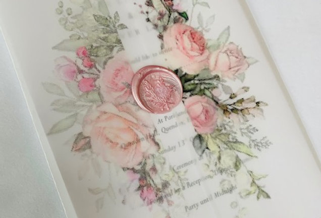 Rose vellum wedding invitations