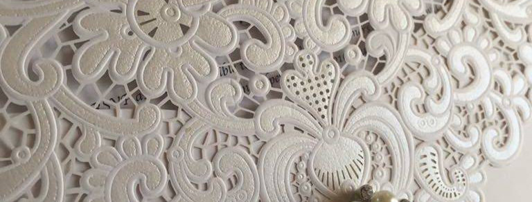 Lace laser cut wedding invites