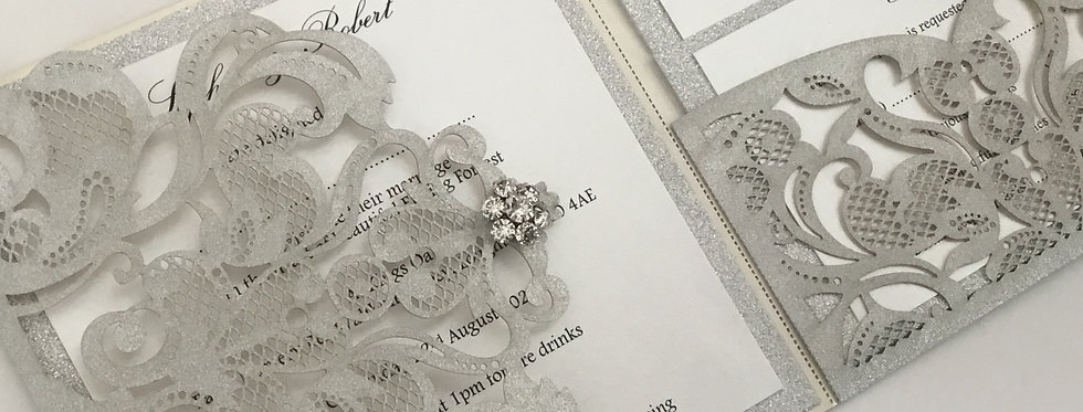 Glitter pocket fold wedding invitations