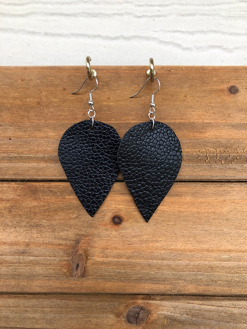 Black Inverted Teardrop Leather Earrings