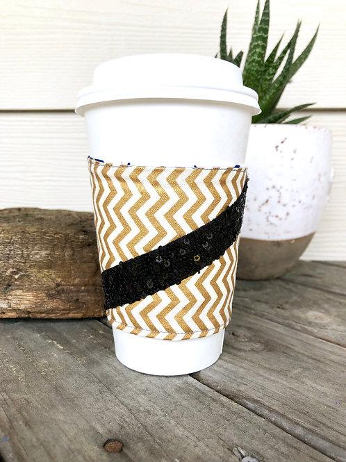 Gold Chevron Black Sequins Reversible Coffee Cozy